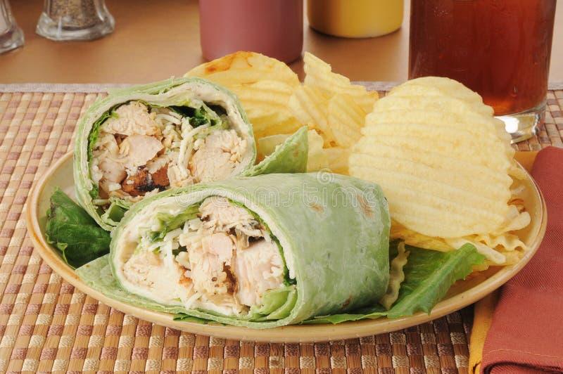Περικάλυμμα σάντουιτς Caesar κοτόπουλου στοκ φωτογραφία με δικαίωμα ελεύθερης χρήσης