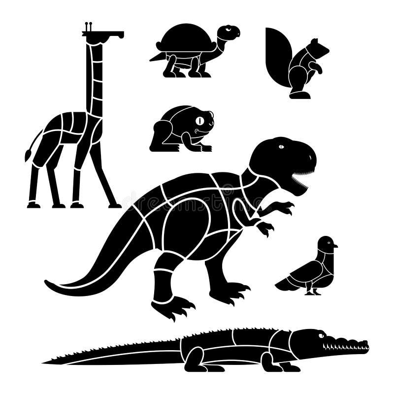 Περικοπή καθορισμένων Giraffe και του σκιούρου κτηνών κρέατος Δεινόσαυρος και περιστέρι διανυσματική απεικόνιση