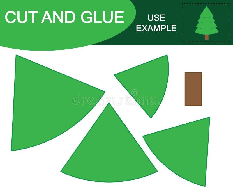 Περικοπή και κόλλα για να δημιουργήσει το χριστουγεννιάτικο δέντρο ελεύθερη απεικόνιση δικαιώματος