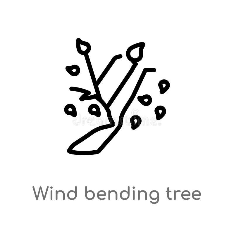 περιλήψεων διανυσματικό εικονίδιο δέντρων αέρα κάμπτοντας απομονωμένη μαύρη απλή απεικόνιση στοιχείων γραμμών από την έννοια οικο διανυσματική απεικόνιση