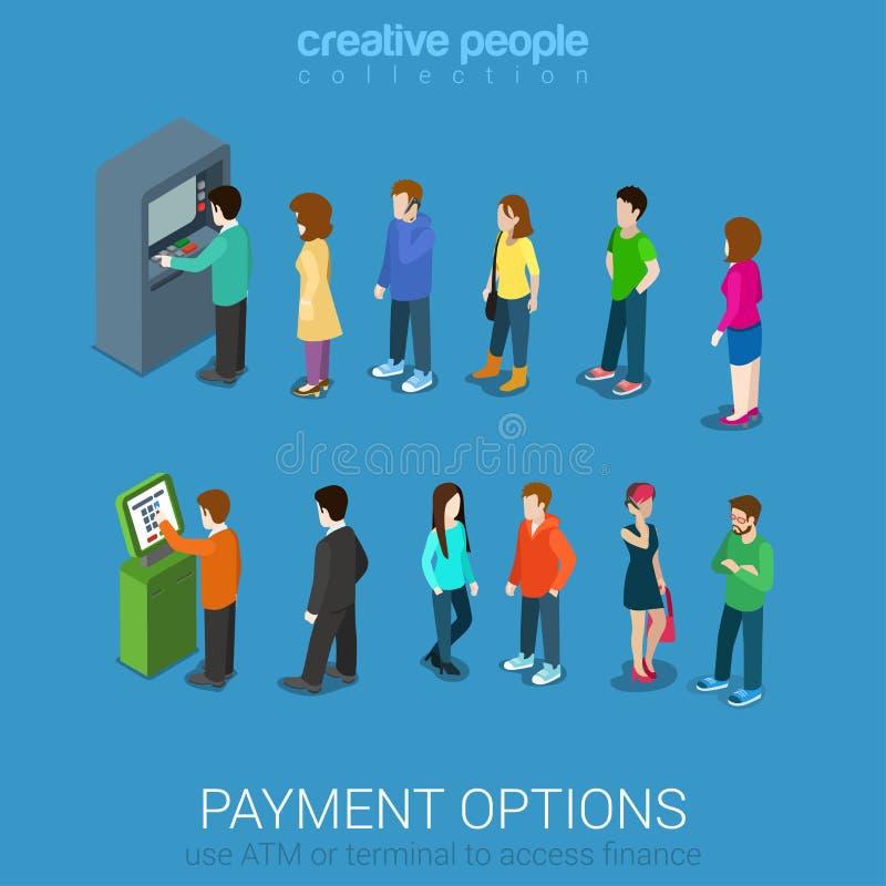 Περιμένοντας γραμμές για το ATM και το τερματικό πληρωμής ελεύθερη απεικόνιση δικαιώματος