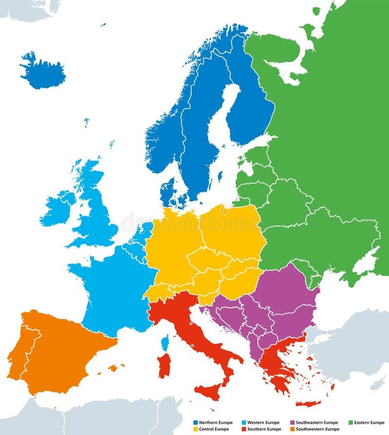 Περιοχές της Ευρώπης, πολιτικός χάρτης, με τις ενιαίες χώρες διανυσματική απεικόνιση