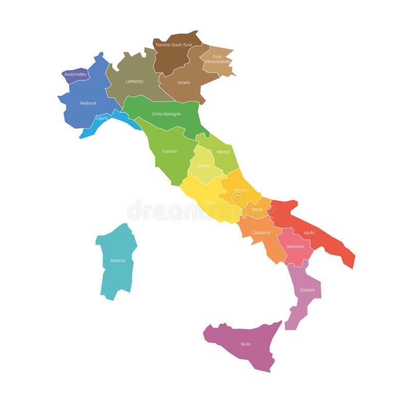 Περιοχές της Ιταλίας Χάρτης των περιφερειακών διοικητικών τμημάτων χωρών o διανυσματική απεικόνιση