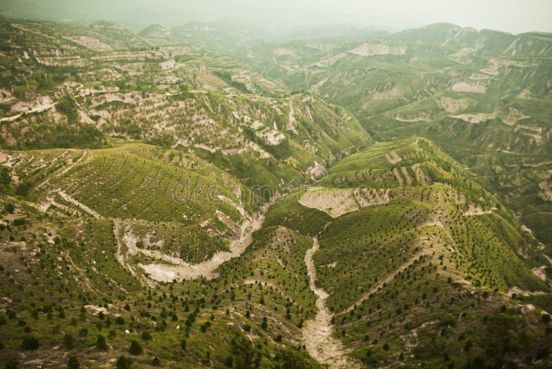 Περιοχές Reforested στα βουνά, επαρχία Shanxi, Κίνα στοκ εικόνες