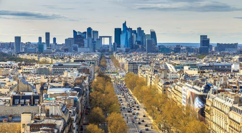 Περιοχή αμυντικών επιχειρήσεων Λα, λεωφόρος Λα Grande Armee Άποψη από Arc de Triomphe Παρίσι, Γαλλία, Ευρώπη στοκ φωτογραφίες με δικαίωμα ελεύθερης χρήσης