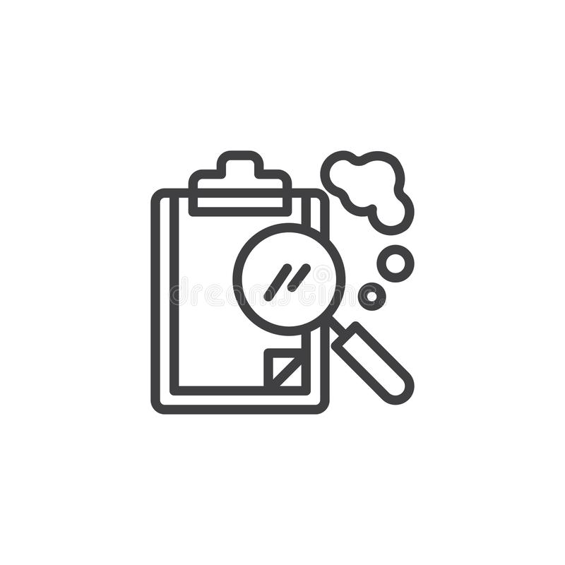 Περιοχή αποκομμάτων και ενίσχυση εγγράφου - εικονίδιο περιλήψεων γυαλιού διανυσματική απεικόνιση