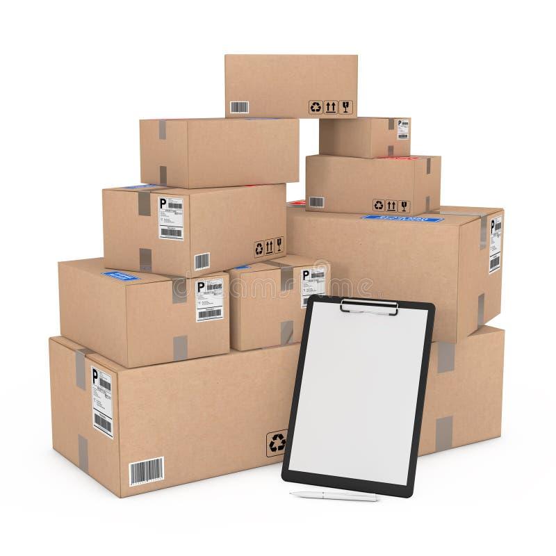 Περιοχή αποκομμάτων με το κενό πρότυπο εγγράφου και μάνδρα κοντά στα κιβώτια σωρών των αγαθών τρισδιάστατη απόδοση απεικόνιση αποθεμάτων