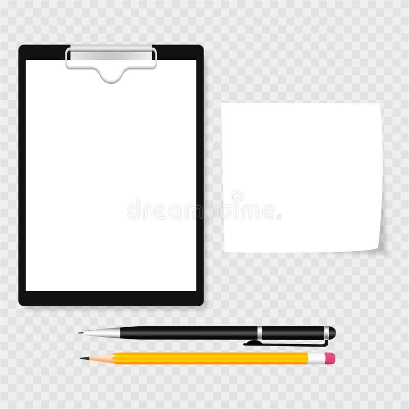 Περιοχή αποκομμάτων με το σφιγκτήρα, συμπλέκτης, στυλός και μολύβι, σαφής κατάλογος εγγράφου Γκρίζα ανασκόπηση επίσης corel σύρετ ελεύθερη απεικόνιση δικαιώματος