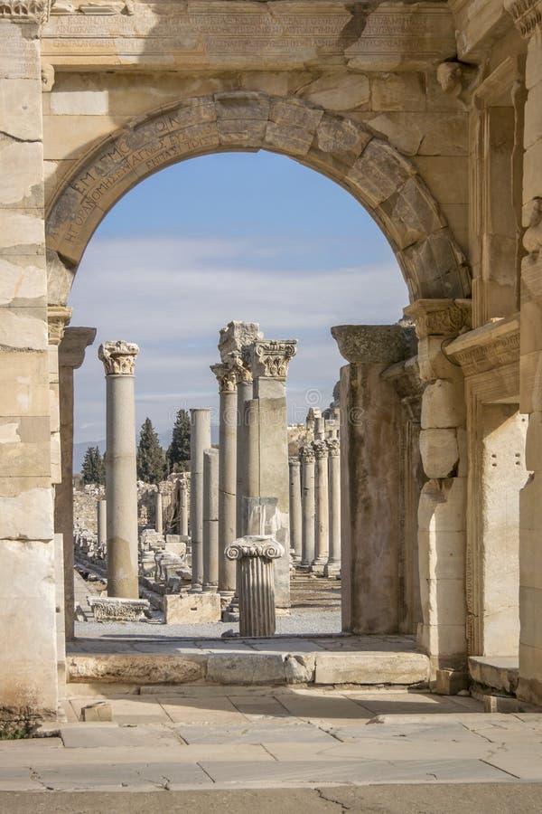 Περιοχή κληρονομιάς της ΟΥΝΕΣΚΟ της αρχαίας πόλης Ephesus, Selcuk, Tur στοκ εικόνα με δικαίωμα ελεύθερης χρήσης