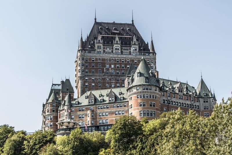 Περιοχή παγκόσμιων κληρονομιών της ΟΥΝΕΣΚΟ τουριστικού αξιοθεάτου Frontenac πύργων πόλεων του Καναδά Κεμπέκ διασημότερη στοκ εικόνες με δικαίωμα ελεύθερης χρήσης
