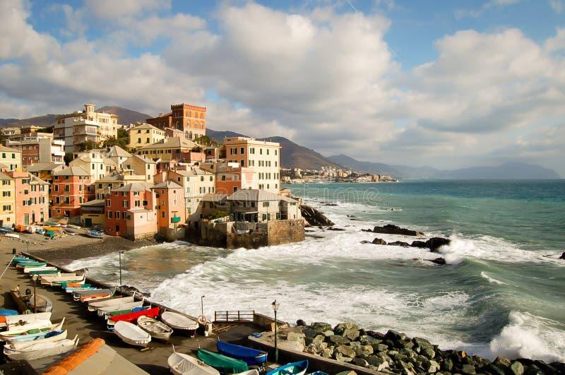 Περιοχή που είναι γνωστή τουριστική ως boccadasse στη Γένοβα Ιταλία στοκ φωτογραφία με δικαίωμα ελεύθερης χρήσης