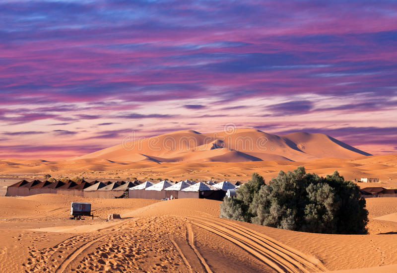 Περιοχή στρατόπεδων με τις σκηνές πέρα από τους αμμόλοφους άμμου στην έρημο Σαχάρας στοκ φωτογραφία