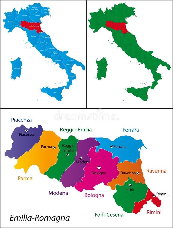 Περιοχή της Ιταλίας - της Αιμιλίας-Ρωμανίας διανυσματική απεικόνιση