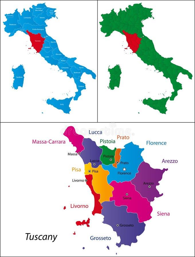 περιοχή της Τοσκάνης της &Iota διανυσματική απεικόνιση