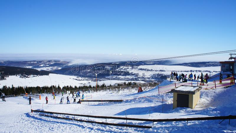 Περιοχή χειμερινών αθλημάτων στα Όρη Ore στοκ φωτογραφία με δικαίωμα ελεύθερης χρήσης