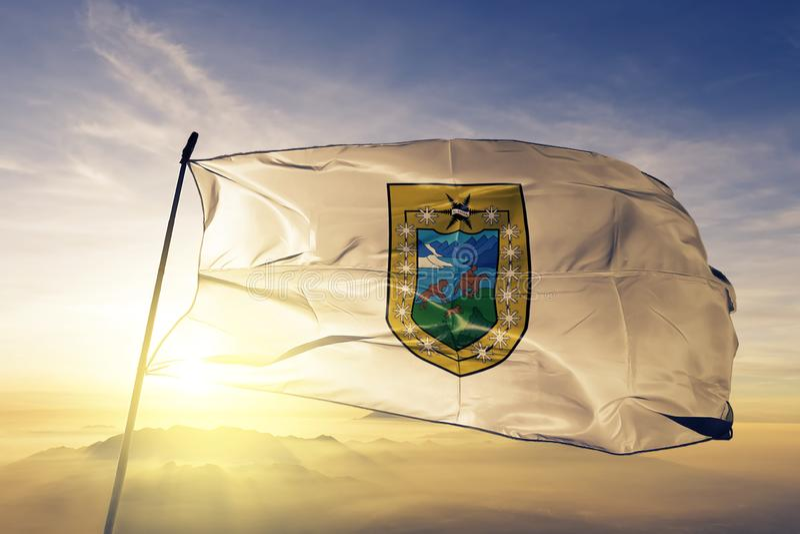 Περιοχή Aysen του υφαντικού υφάσματος υφασμάτων σημαιών της Χιλής που κυματίζει στη τοπ ομίχλη υδρονέφωσης ανατολής διανυσματική απεικόνιση
