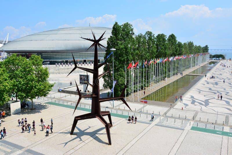 Περιοχή EXPO στη Λισσαβώνα Αστική σύγχρονη σύγχρονη περιοχή αρχιτεκτονικής σχεδίου στοκ εικόνες