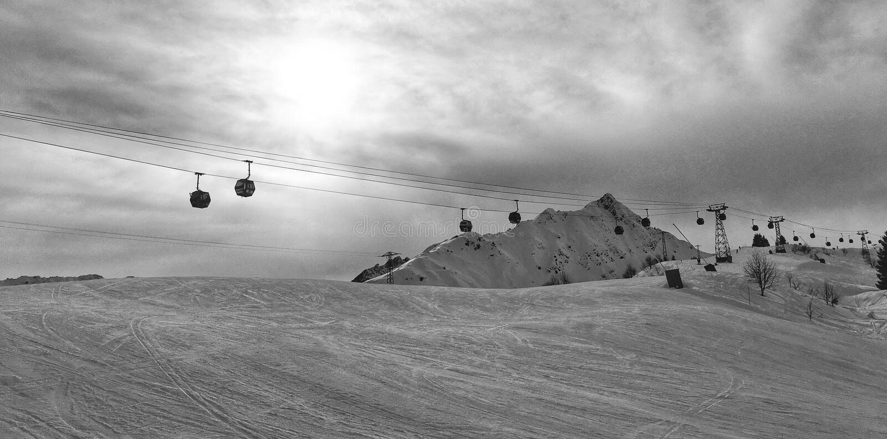 Περιοχή Les Contamines, Γαλλία σκι στοκ εικόνες