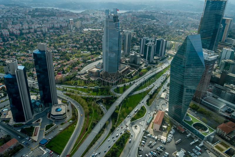 Περιοχή Levent, άποψη από τη γέφυρα παρατήρησης σαπφείρου, Ιστανμπούλ, Τουρκία στοκ φωτογραφίες