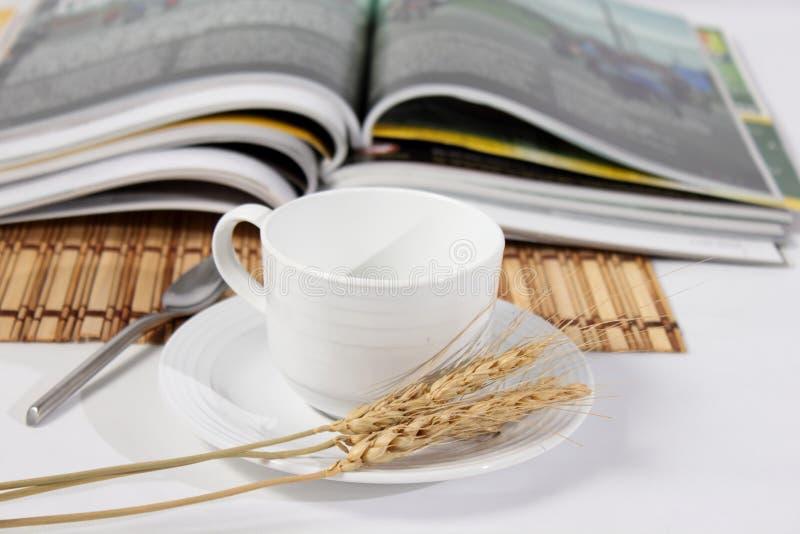 Περιοδικά και άσπρο φλιτζάνι του καφέ στοκ φωτογραφία με δικαίωμα ελεύθερης χρήσης