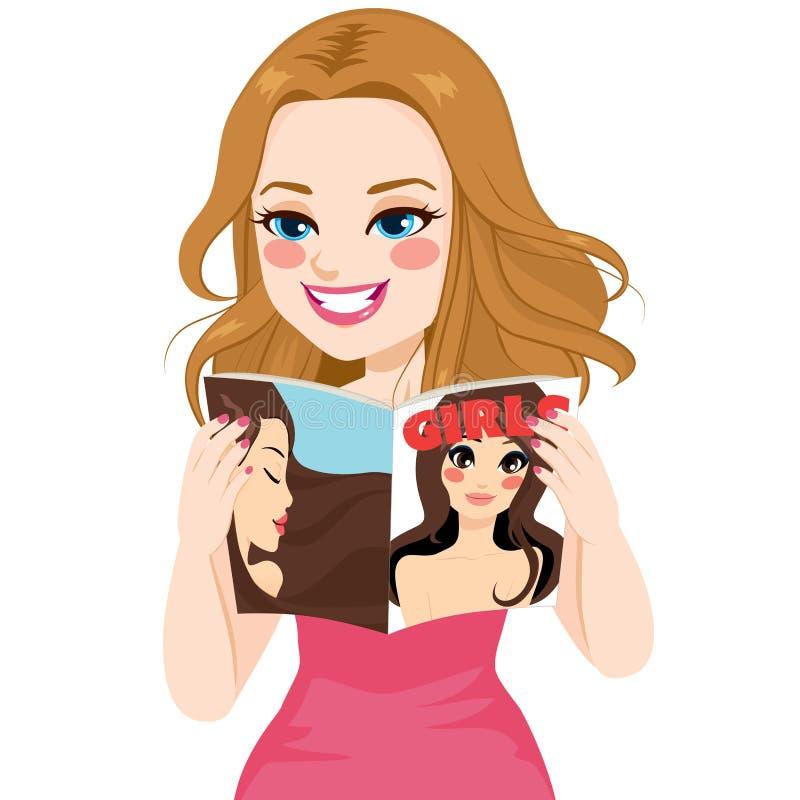 Περιοδικό ανάγνωσης γυναικών διανυσματική απεικόνιση