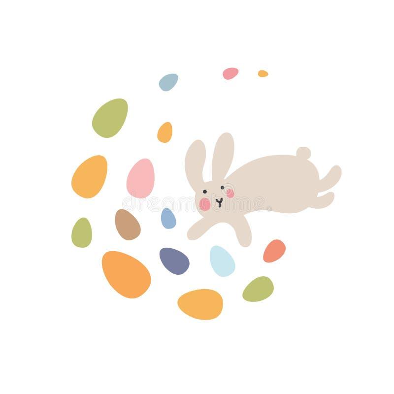 Περιπέτειες των λαγουδάκι Πάσχας, οι οποίες ψάχνουν και κρύβουν τα αυγά διακοπών απεικόνιση αποθεμάτων