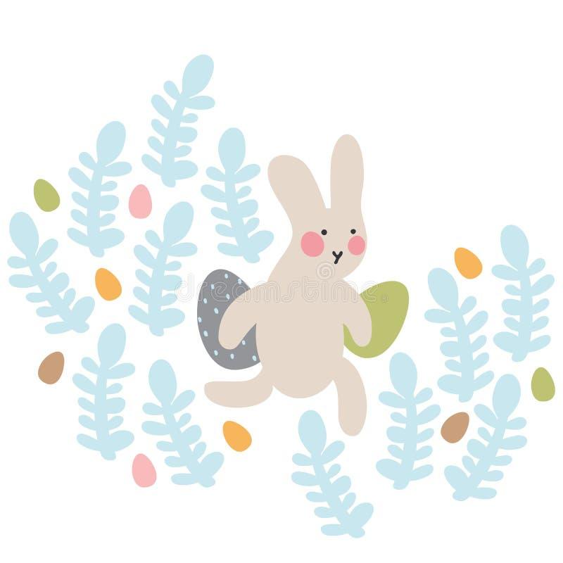 Περιπέτειες των λαγουδάκι Πάσχας, οι οποίες ψάχνουν και κρύβουν τα αυγά διακοπών διανυσματική απεικόνιση