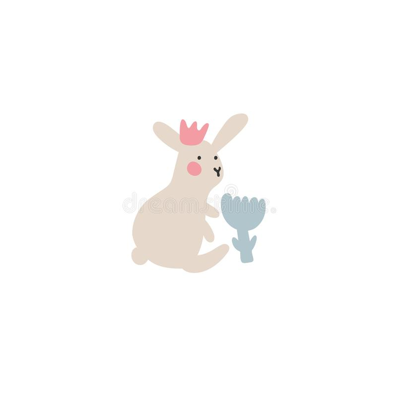 Περιπέτειες των λαγουδάκι Πάσχας, οι οποίες ψάχνουν και κρύβουν τα αυγά διακοπών Στοιχεία σχεδίου Πάσχας στο minimalistic διανυσμ ελεύθερη απεικόνιση δικαιώματος