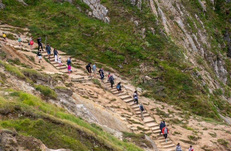 Περιπατητές που περπατούν στην παραλία στην πόρτα Durdle στοκ εικόνες με δικαίωμα ελεύθερης χρήσης