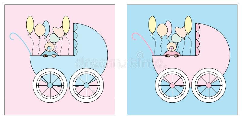 Περιπατητής δύο που τίθεται με ένα μωρό και τα μπαλόνια διανυσματική απεικόνιση
