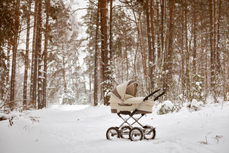 Περιπατητής νηπίων μωρών στο χιόνι ύπνο μωρών χειμερινών στο δασικό νηπίων μέσα στο καροτσάκι στο καθαρό αέρα στοκ φωτογραφίες με δικαίωμα ελεύθερης χρήσης