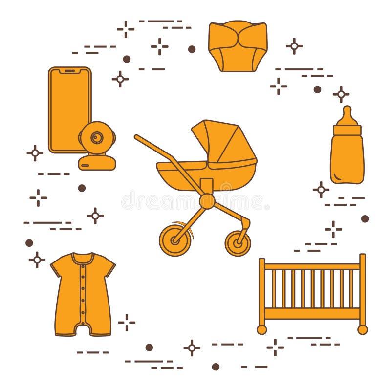 Περιπατητής, παχνί, όργανο ελέγχου μωρών, μπουκάλι, ενδύματα διανυσματική απεικόνιση