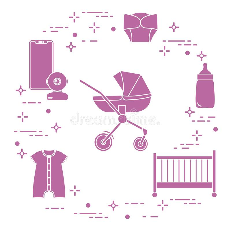 Περιπατητής, παχνί, όργανο ελέγχου μωρών, μπουκάλι, ενδύματα απεικόνιση αποθεμάτων