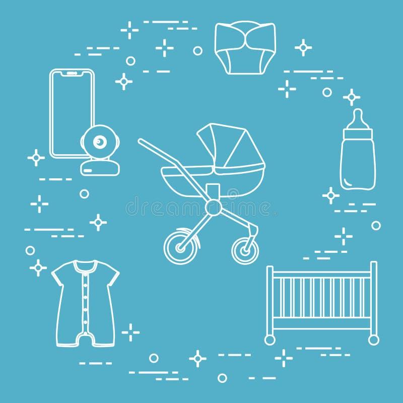 Περιπατητής, παχνί, όργανο ελέγχου μωρών, μπουκάλι, ενδύματα ελεύθερη απεικόνιση δικαιώματος