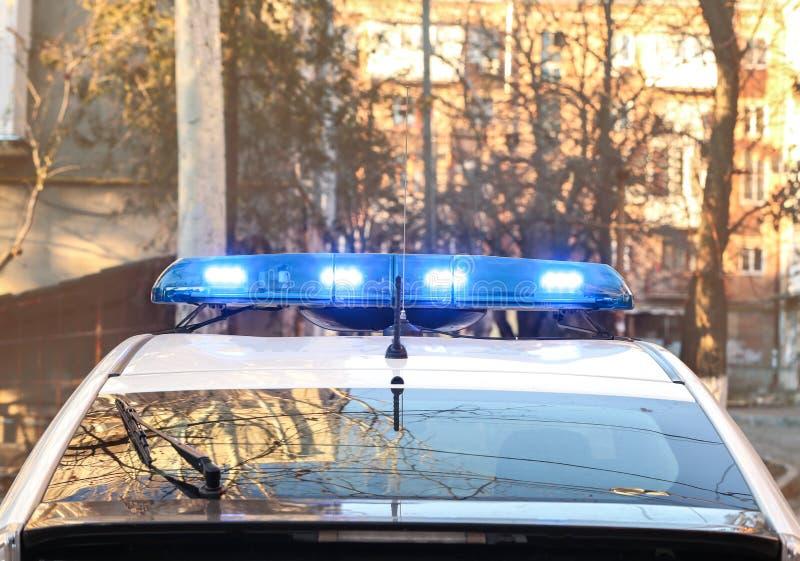 Περιπολικό της Αστυνομίας με τα φω'τα στοκ φωτογραφία με δικαίωμα ελεύθερης χρήσης