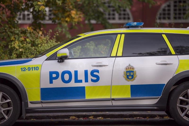 Περιπολικό της Αστυνομίας που σταθμεύουν σουηδικό στοκ φωτογραφίες