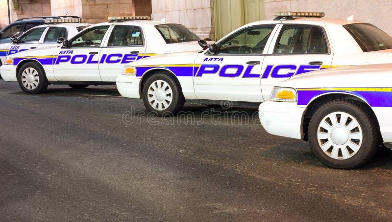 Περιπολικά της Αστυνομίας της Νέας Υόρκης σε μια σειρά στοκ εικόνες