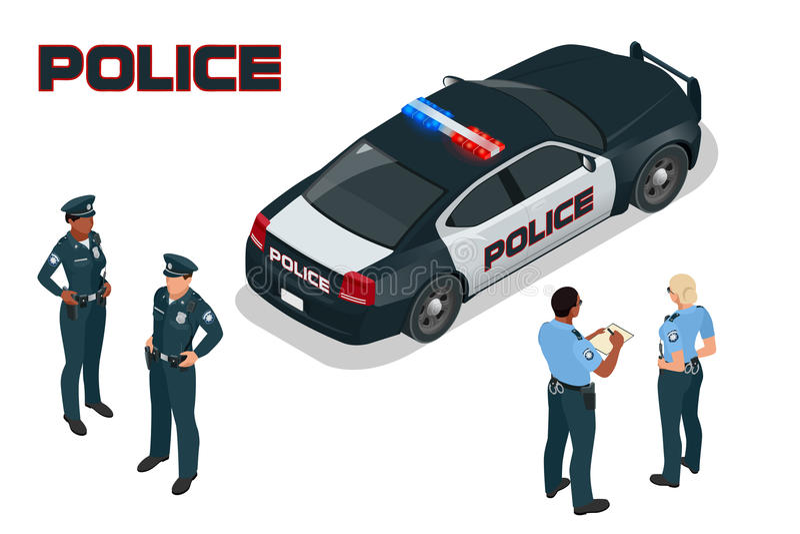Περιπολικό της Αστυνομίας - αστυνομικός - αστυνομικίνα Επίπεδος τρισδιάστατος isometric υψηλός - μεταφορά υπηρεσιών ποιοτικών πόλ ελεύθερη απεικόνιση δικαιώματος