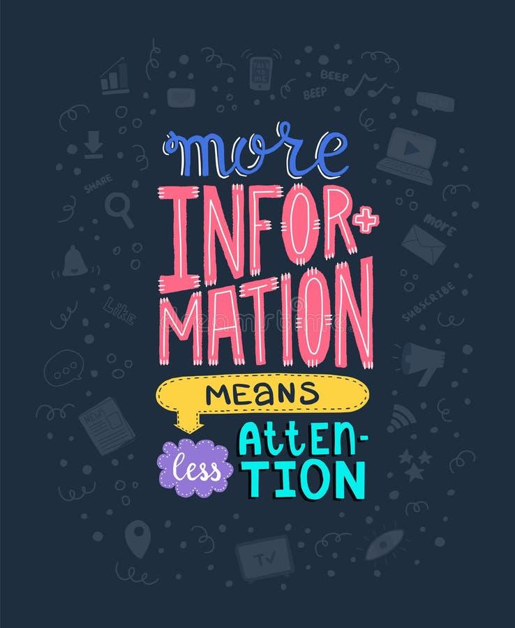 Περισσότερες πληροφορίες σημαίνουν τη λιγότερη προσοχή Φράση στο διάνυσμα στοκ εικόνες