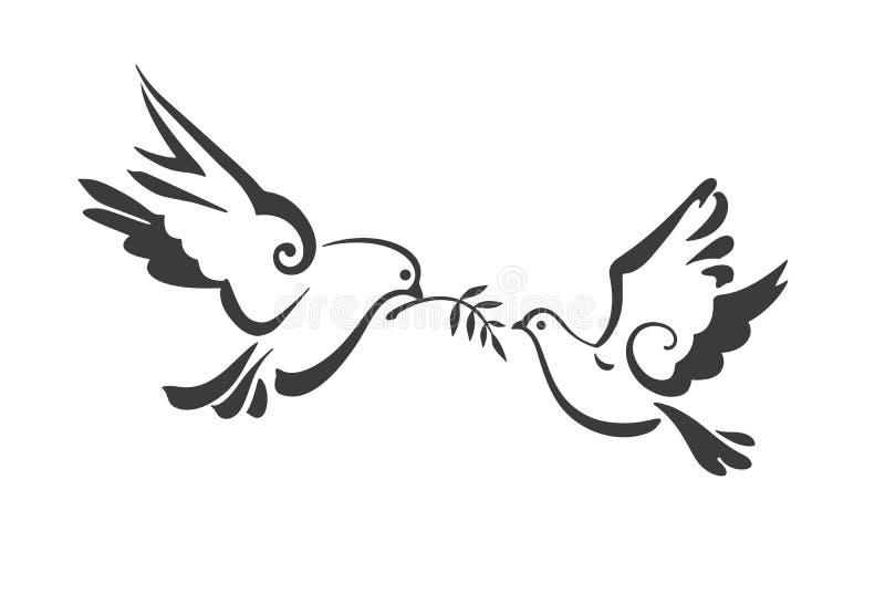 Περιστέρια που απομονώνονται διανυσματικά στο λευκό Περιστέρι ειρήνης με το κλαδί ελιάς EPS ελεύθερη απεικόνιση δικαιώματος