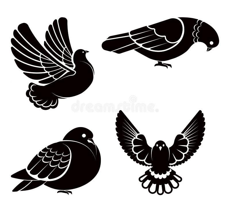 Περιστέρι ή περιστέρι, άσπρο πουλί που πετούν με τα φτερά στον ουρανό ή σύνολο καθίσματος ελεύθερη απεικόνιση δικαιώματος