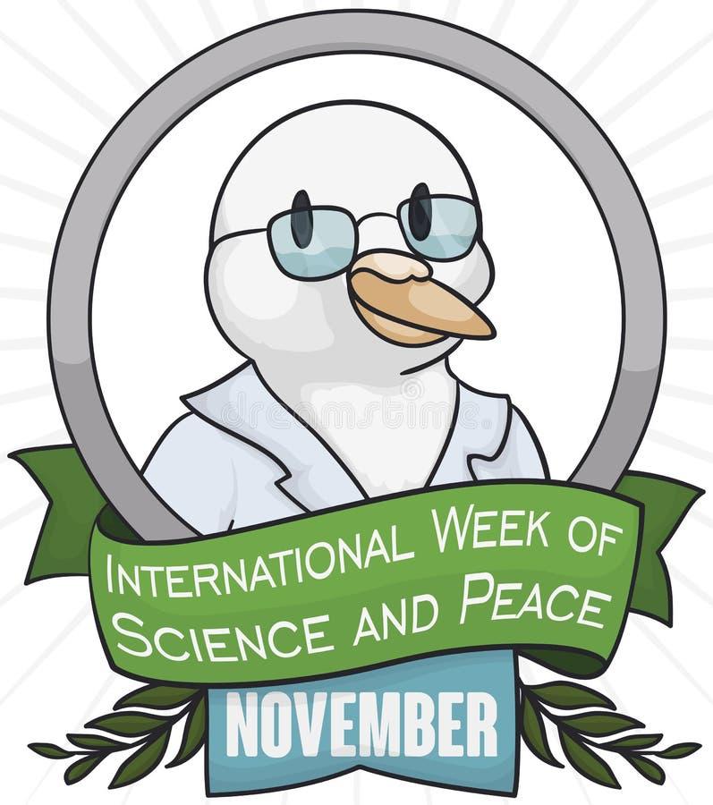 Περιστέρι επιστημόνων στο αναμνηστικό κουμπί για την εβδομάδα επιστήμης και ειρήνης, διανυσματική απεικόνιση ελεύθερη απεικόνιση δικαιώματος