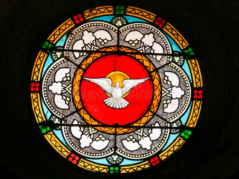 Περιστέρι, ιερό πνεύμα - λεκιασμένο γυαλί στην εκκλησία του Αντίμπες στοκ εικόνες