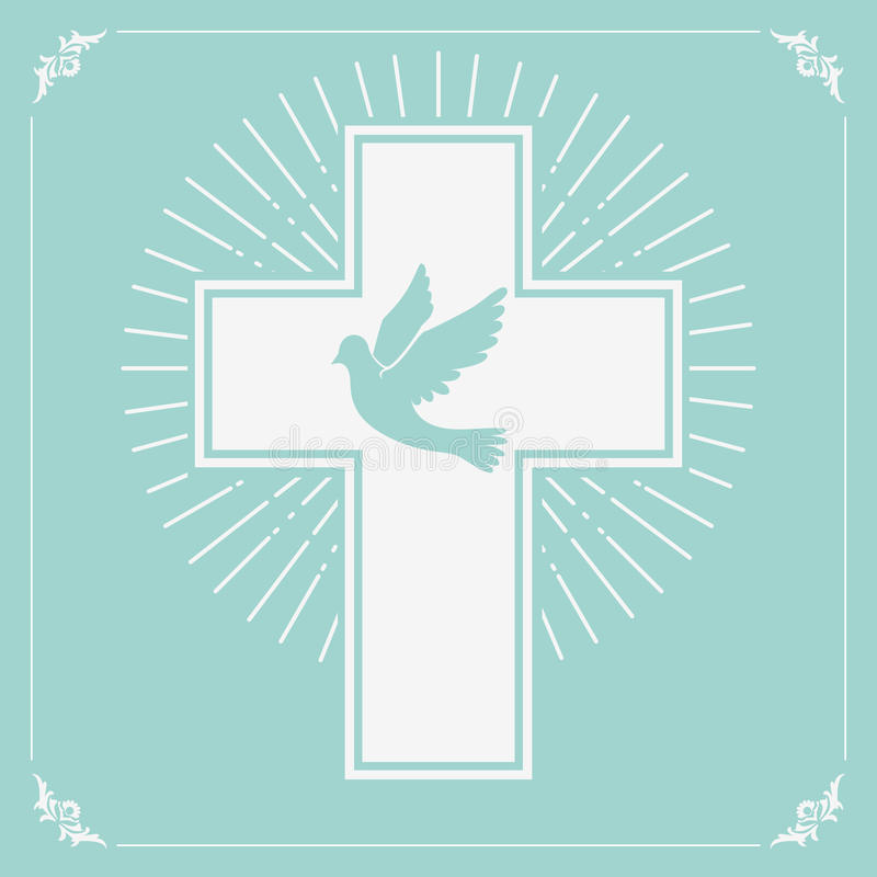 Περιστέρι και ένας σταυρός ελεύθερη απεικόνιση δικαιώματος