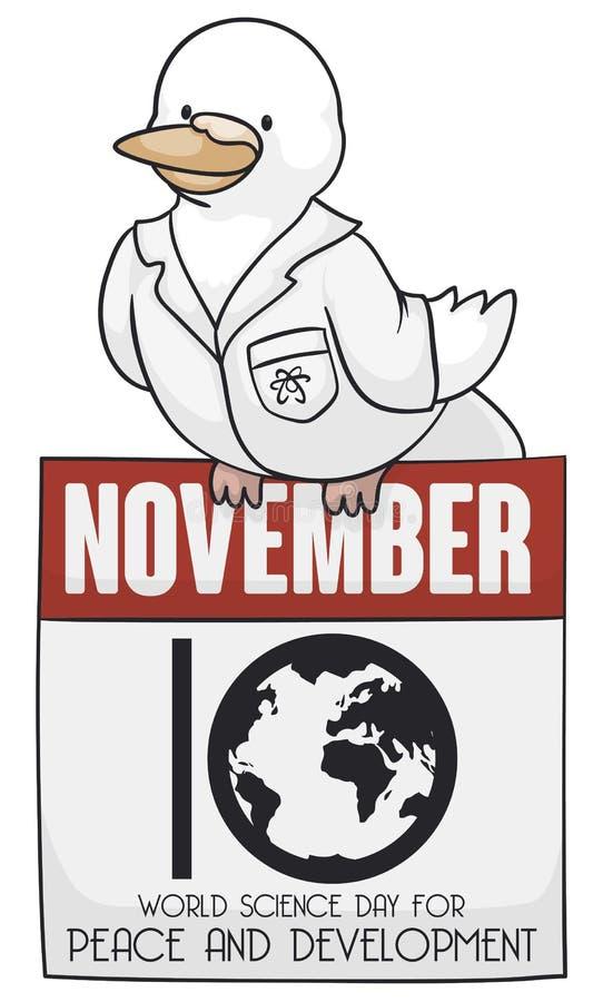 Περιστέρι πέρα από το με κινητά φύλλα ημερολόγιο για την ημέρα παγκόσμιας επιστήμης για την ειρήνη, διανυσματική απεικόνιση διανυσματική απεικόνιση