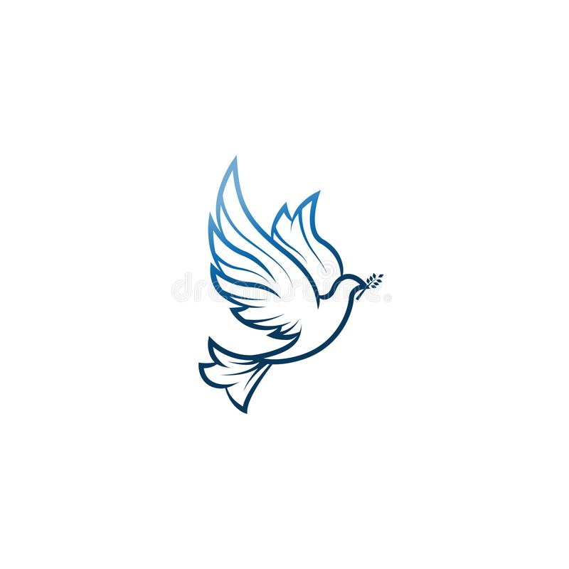 Περιστέρι της ειρήνης Απεικόνιση με το περιστέρι που κρατά ένα κλαδί ελιάς που συμβολίζει την ειρήνη στη γη Περιστέρι τέχνης γραμ απεικόνιση αποθεμάτων