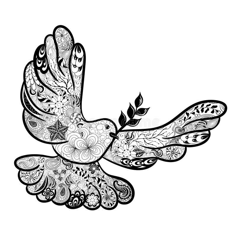 Περιστέρι της ειρήνης doodle διανυσματική απεικόνιση