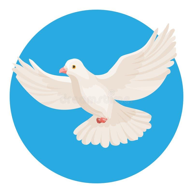 Περιστέρι του άσπρου συμβόλου χρώματος της ειρήνης που απομονώνεται στον κύκλο διανυσματική απεικόνιση