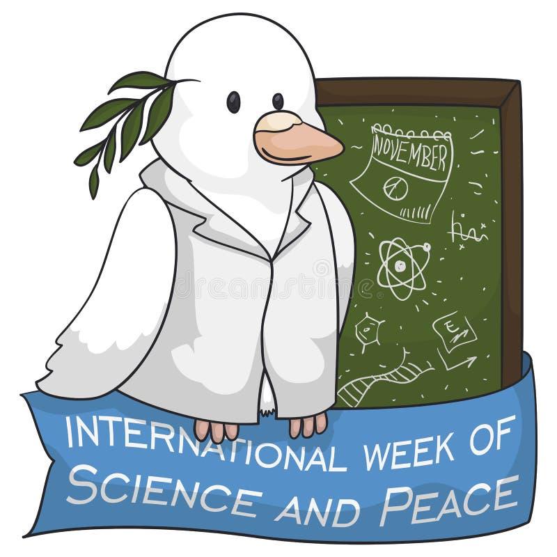 Περιστέρι ως επιστήμονα που γιορτάζει τη διεθνή εβδομάδα της επιστήμης και της ειρήνης, διανυσματική απεικόνιση διανυσματική απεικόνιση