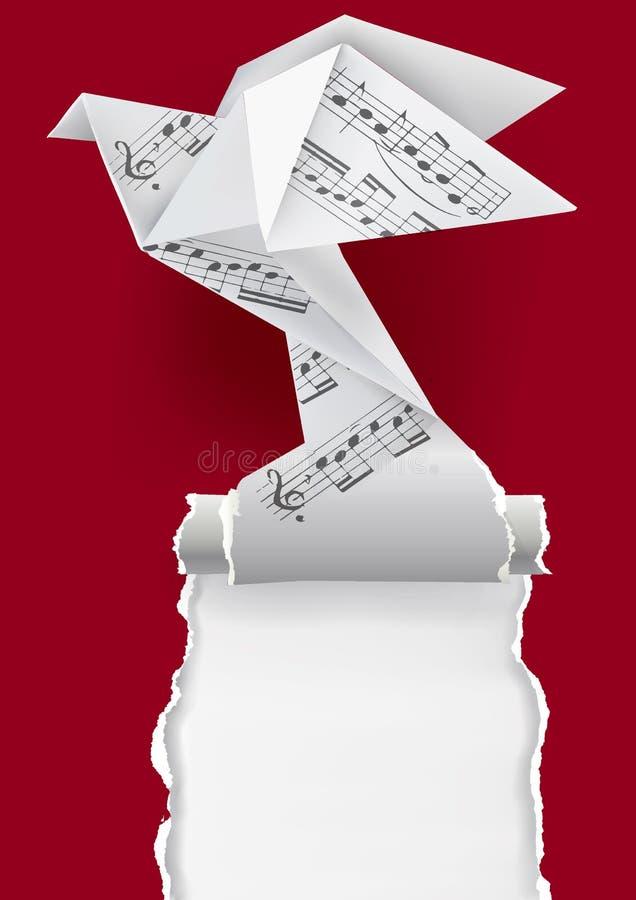 Περιστέρι Origami με τις μουσικές νότες απεικόνιση αποθεμάτων